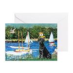 Sailboats & Black Lab Greeting Cards (Pk of 10)