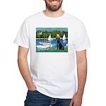 Sailboats & Black Lab White T-Shirt