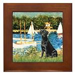 Sailboats & Black Lab Framed Tile