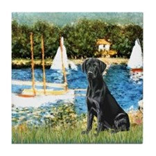 Sailboats & Black Lab Tile Coaster