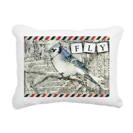 Fly Blue Jay Rectangular Canvas Pillow