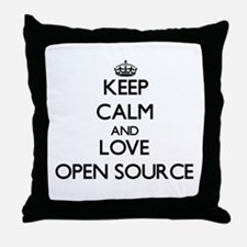 Keep calm and love Open Source Throw Pillow