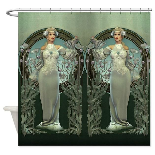 Bathroom Art Nouveau: Art Nouveau White Lady Shower Curtain By ShowerCurtainShop