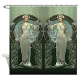 White lady Shower Curtains