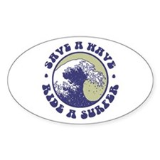 Funny Surfer Oval Decal