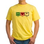 Peace Love Wine Yellow T-Shirt