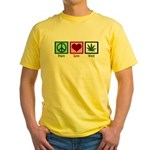 Peace Love Weed Yellow T-Shirt