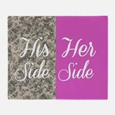Camo His Side/ pink Her Side Throw Blanket
