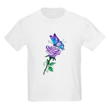 Purple Rose with Butterfly T-Shirt