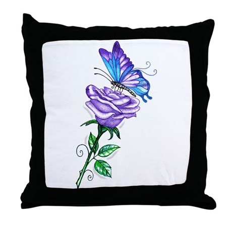 Purple Rose with Butterfly Throw Pillow