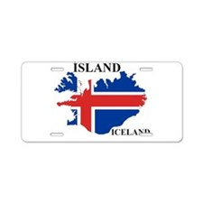 IcelandFlagMap Aluminum License Plate