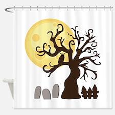 Creepy Halloween Tree Graveyard Shower Curtain