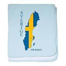 Swedish Flag Map baby blanket