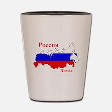 Russian Flag Map Shot Glass