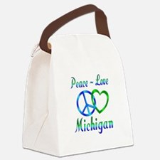 Peace Love Michigan Canvas Lunch Bag