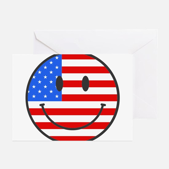 Smiley Face Fourth Of July Greeting Cards (Package