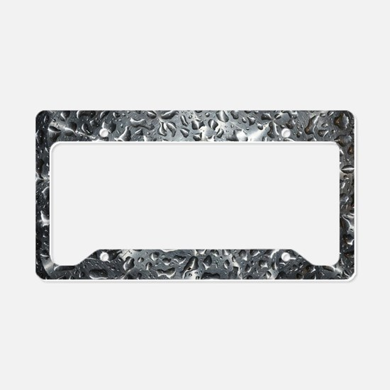 Silver Water Drops License Plate Holder