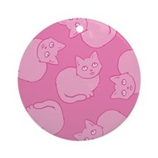 Cute Pink Cat Pattern Ornament (Round)