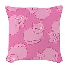 Cute Pink Cat Pattern Woven Throw Pillow