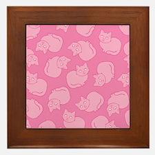 Cute Pink Cat Pattern Framed Tile