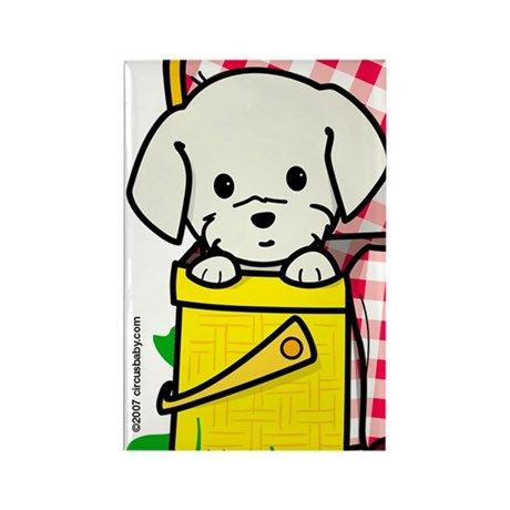 Puppy Picnic Rectangle Magnet
