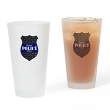 Police Diamond Plate Badge Drinking Glass