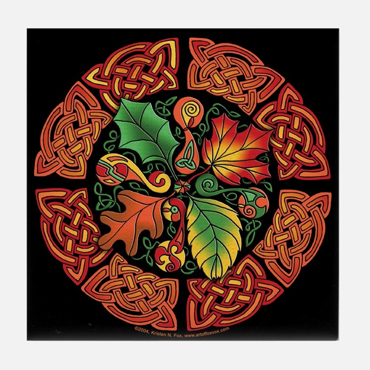 Celtic Autumn Leaves Tile Coaster