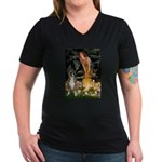 Fairies & Boxer Women's V-Neck Dark T-Shirt