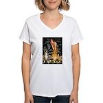 Fairies & Boxer Women's V-Neck T-Shirt
