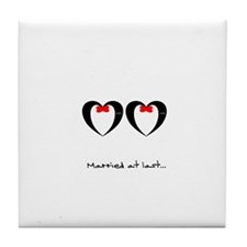 Married at last Gay Wedding Tile Coaster