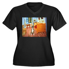 Room with a Boxer Women's Plus Size V-Neck Dark T-