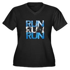 Run X 3 Women's Plus Size V-Neck Dark T-Shirt