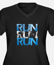 Run X 3 Women's Plus Size V-Neck Dark T-Shirt