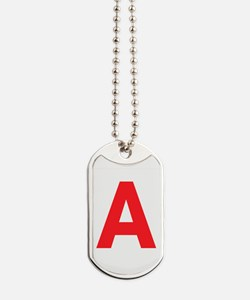 Letter A Red Dog Tags