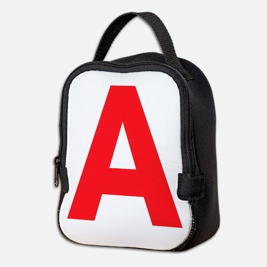 Letter A Red Neoprene Lunch Bag