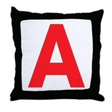Letter A Red Throw Pillow