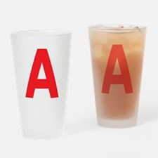 Letter A Red Drinking Glass