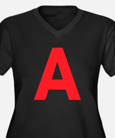 Letter A Red Plus Size T-Shirt