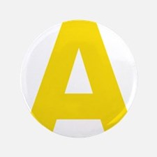 """Letter A Yellow 3.5"""" Button"""