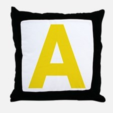 Letter A Yellow Throw Pillow