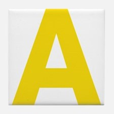 Letter A Yellow Tile Coaster