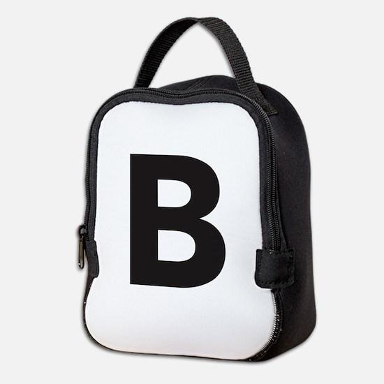 Letter B Black Neoprene Lunch Bag