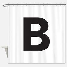 Letter B Black Shower Curtain