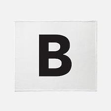Letter B Black Throw Blanket