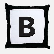 Letter B Black Throw Pillow