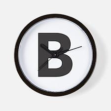 Letter B Black Wall Clock