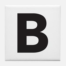 Letter B Black Tile Coaster