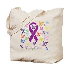 Lupus Multicolored Butterfly Awareness Tote Bag