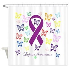 Lupus Multicolored Butterfly Awareness Shower Curt