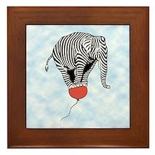 Flying Elephant Zebra Framed Tile